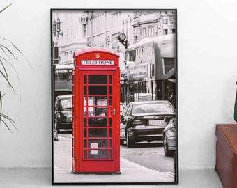 Telephone Box Print, Red Illustration, England Art Decor, Urban Poster, Living Room Print, Kitchen Wall Decor, Wall Decor