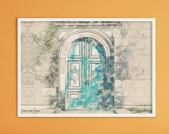 Blue Door Print, Architecture Print, Arch Wall Art Decor, Architecture Drawing, Living Room Decor, Kitchen Wall Decor, Wall Art, Wall Decor