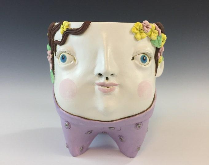 Whimsical Ceramic Face Planter