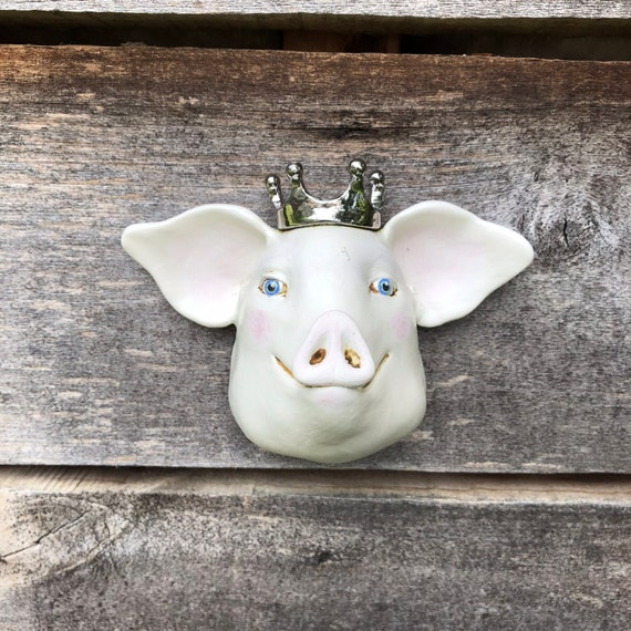 Royal Pig Ceramic Wall Sculpture