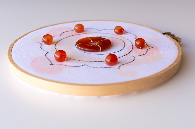 Carnelian Artwork Sacral Chakra crystal embroidery art 18cm  7inch Spiritual home decor hand embroidered hoop with gemstones