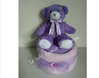 My purple bear - with Teddy bear diaper cake