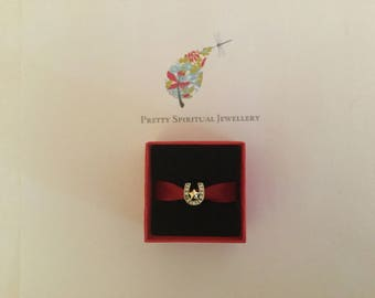 Silver lucky horse shoe bead in red gift box.