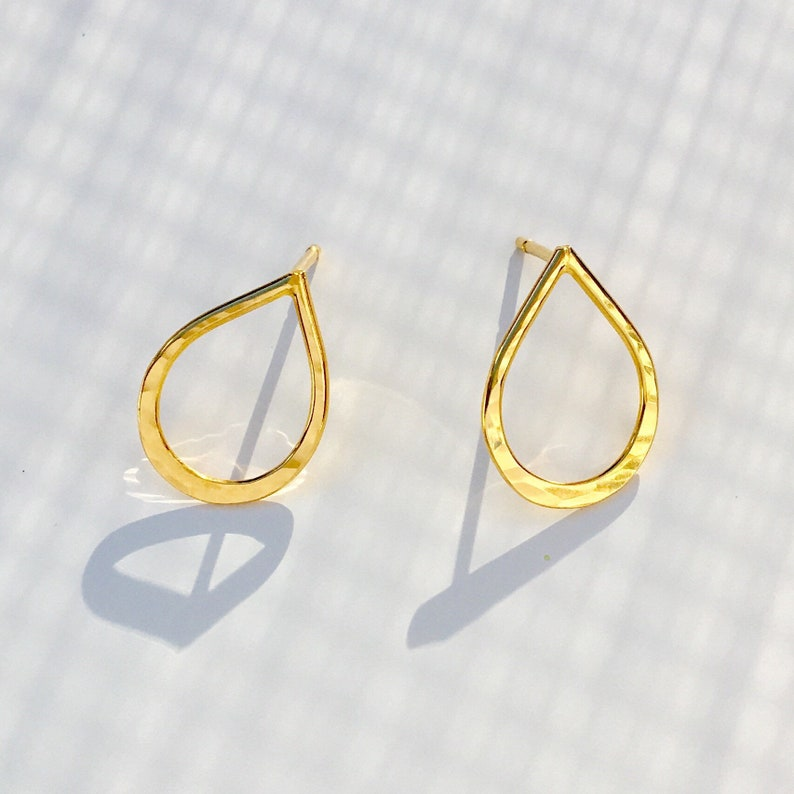 a9b9e3830 Gold Teardrop Earrings 22ct Yellow Gold Filled on Sterling   Etsy