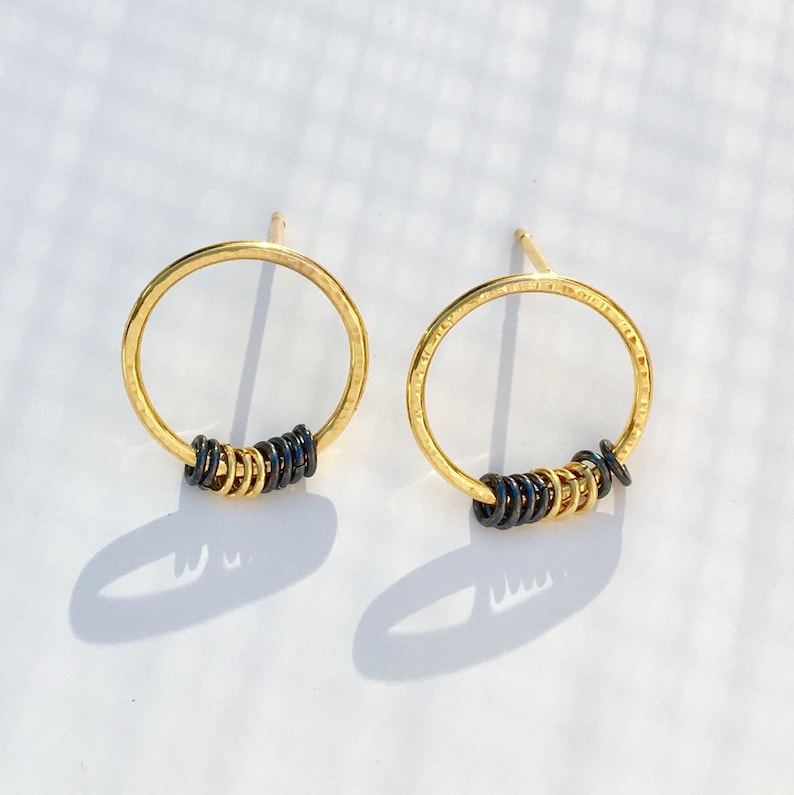 d5179594d Gold Circle Ring Earrings 22ct Yellow Gold Vermeil   Etsy