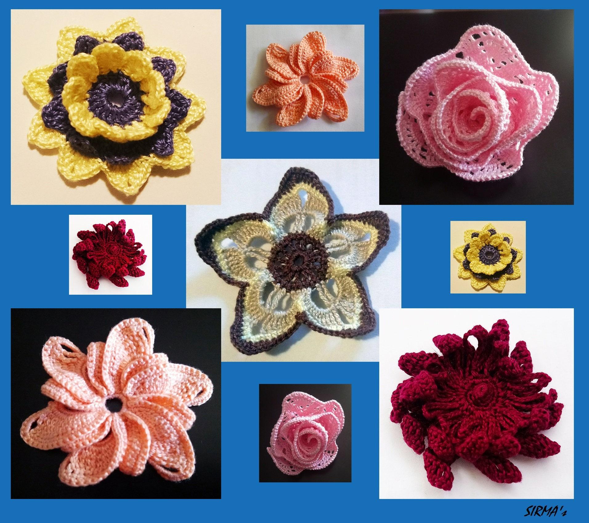 Flower Crochet Pattern Set Of 5 Flower Crochet Patterns Etsy