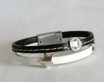 Black and white leather, white swarovski crystal, stars, silver plated magnetic clasp bracelet