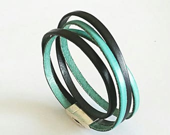 Turquoise and black leather bracelet double, rectangular silver plated magnetic clasp