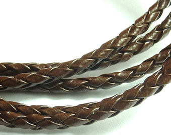 4mm Brown braided leather cord