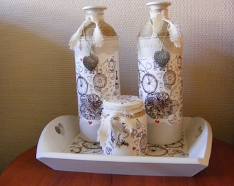 brocante bottles set Paris with tray