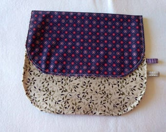 Purple and beige pouch