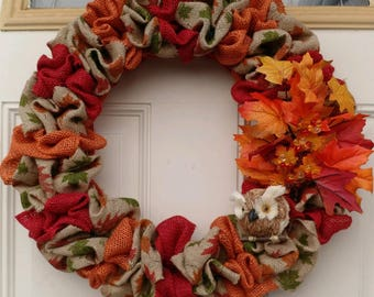 Autumn wreath, fall wreath, Owl, Foliage, Leaves, Holiday Wreath, front door wreath, Thanksgiving wreath, Rustic, red and orange wreath