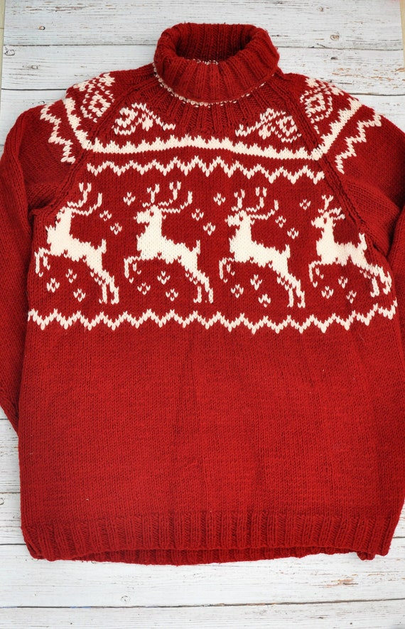 Deer Sweater Knit Men Sweater Fisherman Sweater Christmas Etsy