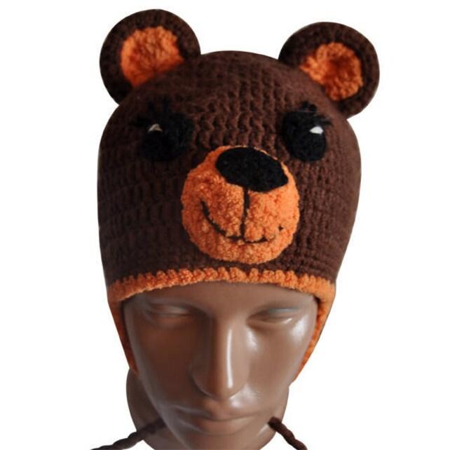Ours chapeau tuque ours au crochet bonnet de laine tricoté   Etsy 34d25dbcda8