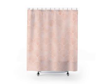 Pink Shell Pattern Shower Curtain Bathroom Decor Modern Cute Ocean Lover Home Apartment
