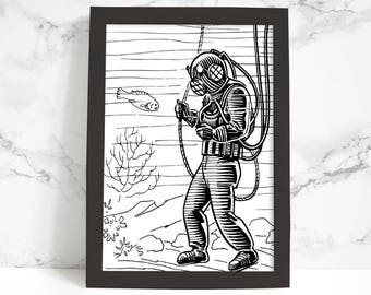 Scuba Diver Illustration Printable Art, Wall Art Print, Instant Download, Printable Quotes, Motivational Art, Printable Wall Art
