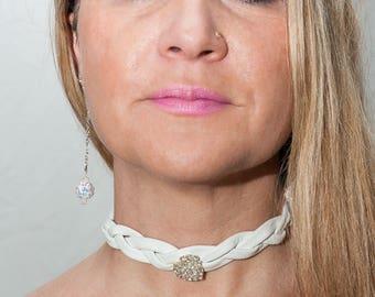 White leather and rhinestone Choker necklace