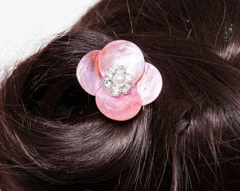 Pearl hair Pink Rhinestone and Pearl
