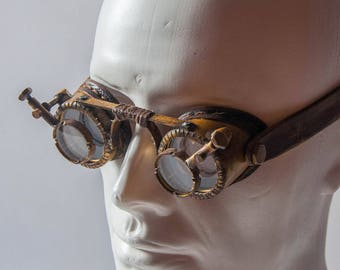 Magnifying Lenses Goggles - Post Apocalyptic Goggles - Victorian Goggles - Cyberpunk Leather Goggles - Engineer Goggles - Cosplay Eyewear