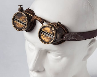 Cyberpunk Brass Goggles - Snow Goggles - Steampunk Eyewear - Double Lenses Goggles - Cyberpunk Leather Goggles - Postapocalyptic Goggles