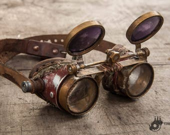 Dark Lenses Goggles - Brass Goggles - Burning Man Goggles - Mad Max Eyewear - Dystopian Goggles - Double Lenses Goggles - Post Apocalyptic