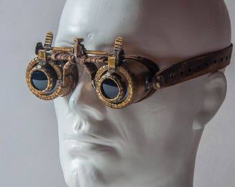 Brass Post Apocalyptic Goggles - Steampunk Goggles - Vintage Victorian Cyberpunk Eyewear - Leather Goggles - Mad Max Goggles - Gift for Him