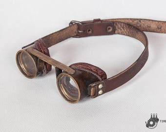 Brass Steampunk Goggles - Victorian Accessories - Old Brass Goggles - Post Apocalyptic Goggles - Mad Max Eyewear- Cyberpunk Burning Man LARP