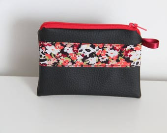 """Wallet with faux leather black """"Pandi Panda"""" - gift idea mothers day"""