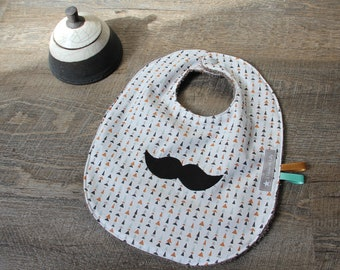 """Great father's day bib snap """"Mr mustache and the trees"""" beige sponge - gift idea"""