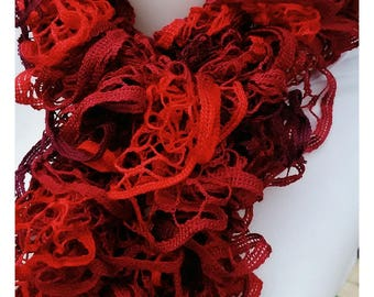 Original red ruffled scarf