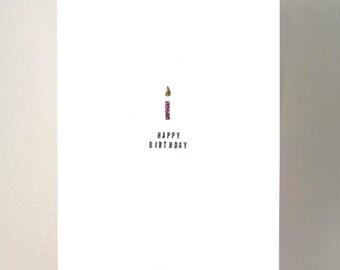 Happy Birthday. A6 handmade card.