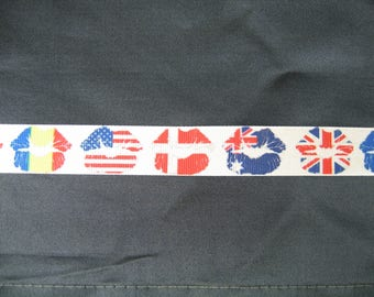 Gros Grain - flag country lips mouth - 22 mm Ribbon