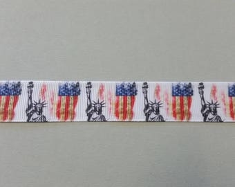 Gros Grain Ribbon - America - United States - Statue of liberty - 22 mm