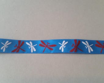 Satin Ribbon - Brown and white Dragonfly background blue - 15 mm