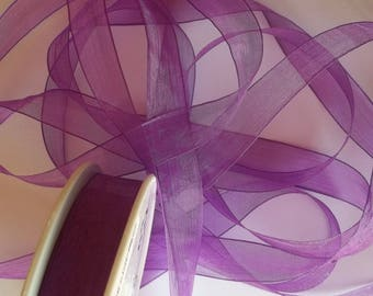 3 meters of purple chiffon Ribbon, width 15mm (M11)