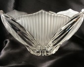 Art Deco style flared leaded crystal bowl with sanded leaf and abstract motif
