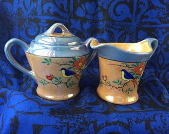 CHARMING BLUEBIRD SUGAR WITH LID AND CREAMER WITH SPOON SET BRAND NEW