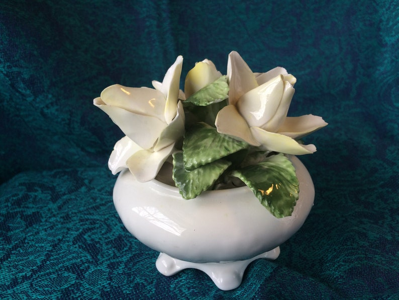 Radnor Staffordshire bone china white on white footed floral bouquet of White Roses with green leaves embossed icanthus leaves design