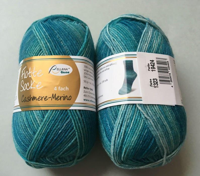 knitting yarn 4fold fingering weight superwash Rellana Flotte Socke Cashmere-Merino color 1323 soft merino extrafine wool