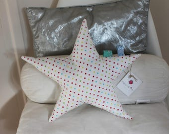 Star cushion with multi-color dots