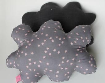 Pink cloud batiste grey star pillow / grey corduroy