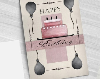 Greeting card for birthday digital collage drawing and fabric