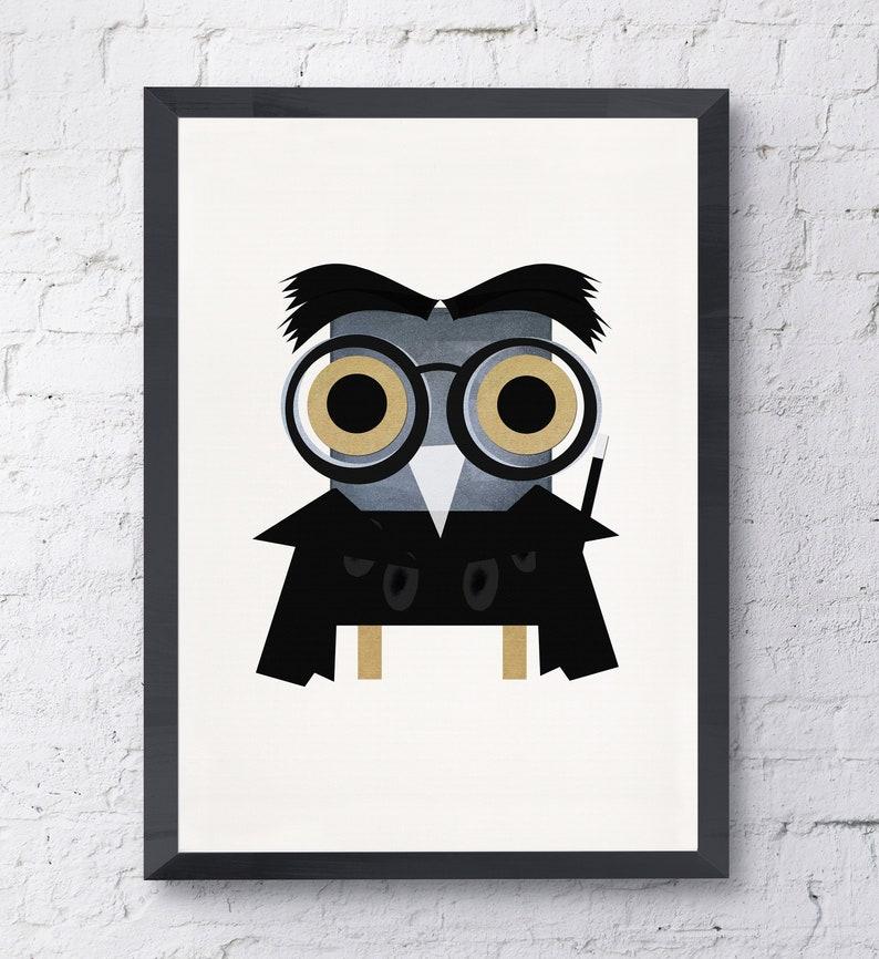 Harry Potter owl illustration funny animal print download file image 0