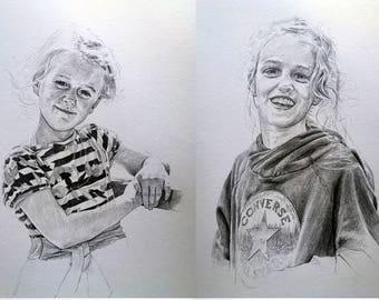 Set of Custom Pencil Drawings (A4) Head Portraits of Individual Family Members