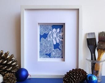 Pine cones original cyanotype, indigo blue scandinavian poster, Christmas and winter wall art, botanical lover gift