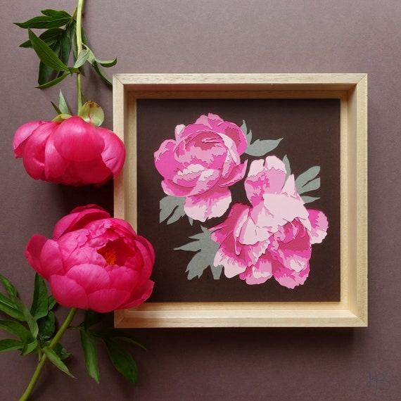 Light Pink Or Dark Pink Paper Cut Peonies Original Paper Cut Etsy
