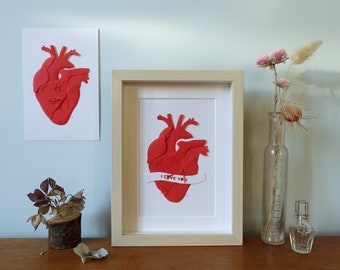 Anatomical Heart made of paper, 3D paper cut art, personalized Valentine's Dayor First wedding anniversary gift