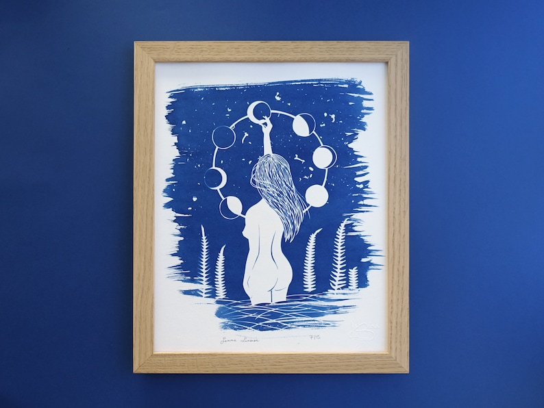 Cyanotype of a naked woman under the stars moon print for celestial stars lovers moon phases feminist art mystical witchy gift
