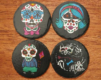 Day of the Dead Sugar Skull Coasters (Family 4-Pack)