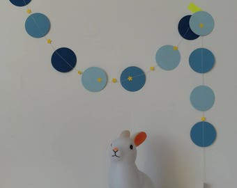 Small paper Garland: shades of blue and yellow stars